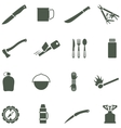 Set of icons with camping equipment and vector