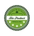 Green bio product label design vector