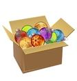 Cardboard box full of christmas balls isolated vector