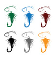 Set of fly fishing lure and fish vector