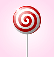 Sweet glossy lollipop isolated on pink background vector