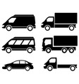 Black set transport icons vector
