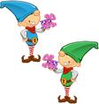 Elf mascot holding a present vector