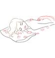 Series spa salon massage woman with rose petals vector