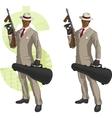 Cartoon afroamerican mafioso with tommy-gun vector
