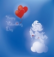 Silhouette of loughing cupid with bow and arrow vector