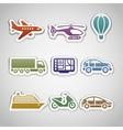 Flat retro color stickers - set ten vector