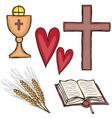 Set of religious symbols vector