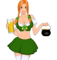 Beautiful girl with beer vector