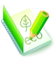 Green eco book with pencil vector