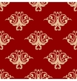 Red on beige floral seamless pattern vector