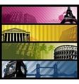 Europe cities horizontal travel banners vector