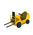 A powered industrial forklift truck vector
