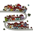 Road and houses cityscape cartoon for your design vector