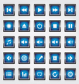 Media square button blue vector