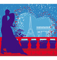Romantic couple in paris kissing near the eiffel vector