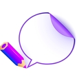 Violet cartoon pencil with paper speech bubble vector