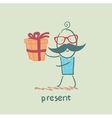 Man with gift vector