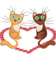 Cartoon cats which is in love vector