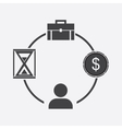 Business icon businessman time money portfolio vector