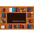 Wooden bookshelves vector