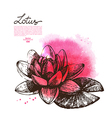 Background with hand drawn sketch beautiful lotus vector