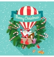 Festive merry christmas greeting card with santa vector