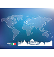 Map pin with rome skyline vector