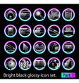 Black glossy icon set 1 vector