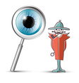 Detective with magnifying glass and eye symbol vector