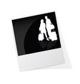 Polaroid photo frame with couple travel silhouette vector