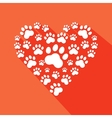 Flat heart with pet paws silhouette vector