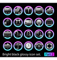 Black glossy icon set 2 vector