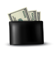 Black leather wallet with money vector