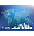 Map pin with new york skyline vector