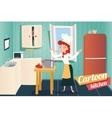 Cartoon apartment kitchen interior house room vector