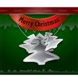 Merry christmas card hanging metallic christmas vector