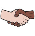 Handshake between black and white man vector