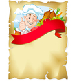 Old paper background with chef and food vector