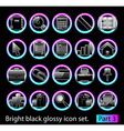 Black glossy icon set 3 vector
