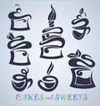 Cakes sweets and drinks silhouettes vector