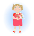 Cartoon girl with flower bouquet vector