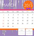 2015 calendar monthly calendar template for march vector