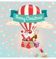 Festive merry christmas greeting card with santa vector
