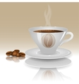A cup of hot coffee on a beige background with vector