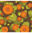 Seamless pattern pumpkins with leaves vector