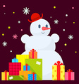 Snowman and piles of presents on dark vector
