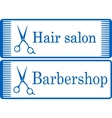 Blue barbershop signboard vector