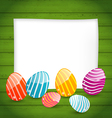 Paper card with easter colorful eggs vector