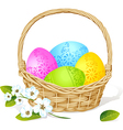 Colorful easter eggs in basket with spring flower vector